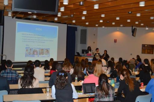 ASDA presentation led by Tabitha Mohammed '19, Agatha Kao '18, and Airy Choi '20.