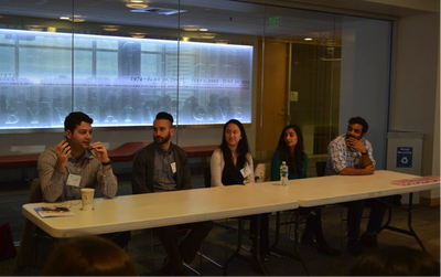 Student panel led by Yannis Korroneos '20, Jimmy Assad '17, Mia Russo '19, Aekta Patel '18, and Rishi Bhusari '20.