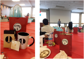 (Left) Free ASDA Swag included a notepad, a number one pin (in honor of District 1), and an awesome ASDA mug. (Right) Representative from a sponsor company spoke to an attentive audience during breakfast.